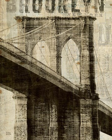 Vintage NY Brooklyn Bridge by Michael Mullan art print