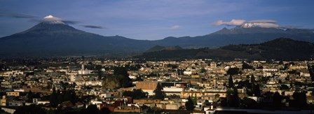 Aerial view of a city a with mountain range in the background, Popocatepetl Volcano, Cholula, Puebla State, Mexico by Panoramic Images art print