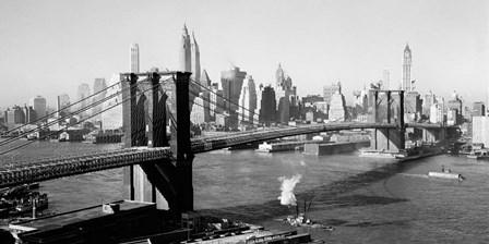 Brooklyn Bridge with Manhattan skyline, 1930s (detail) art print