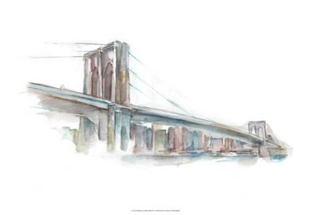 Watercolor Bridge Sketch II by Ethan Harper art print
