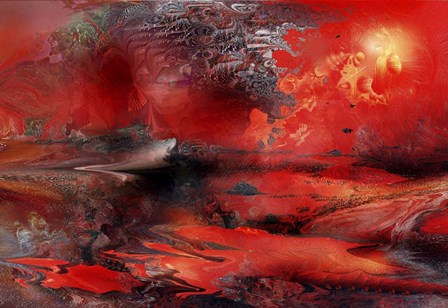Volcano Planet Red by RUNA art print